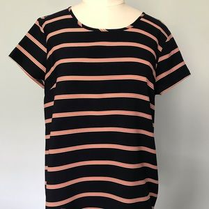 Navy Tee with Red and White Candy Cane Stripes